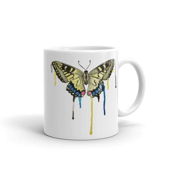 Butterfly Coffee Mug, Ceramic Mug, 11oz, Art by Kikajo