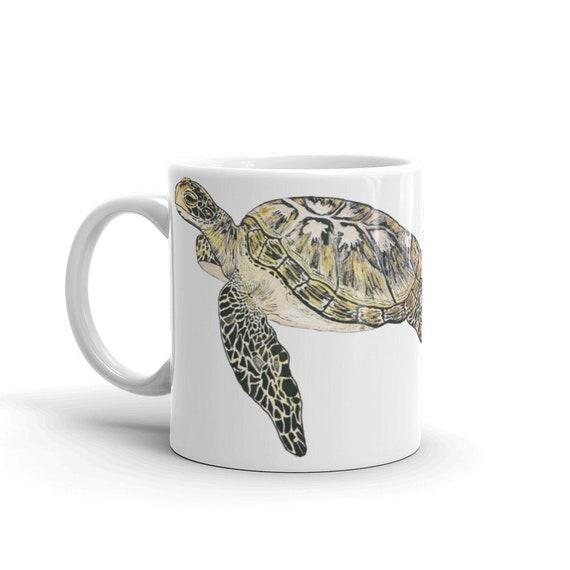 Sea Turtle Coffee Mug, Ceramic Mug, 11oz, Art by Kikajo