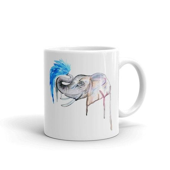 Elephant Coffee Mug, Ceramic Mug, 11oz, Art by Kikajo
