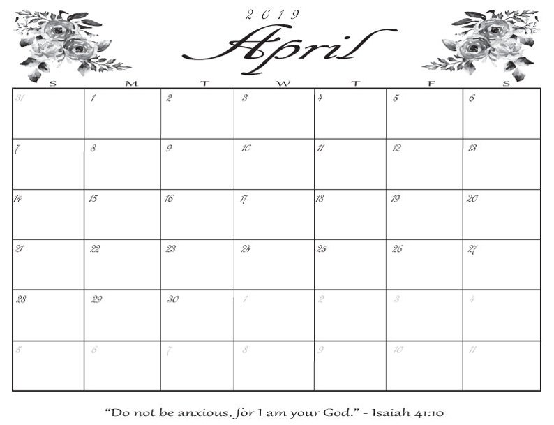Légend image regarding april calender printable