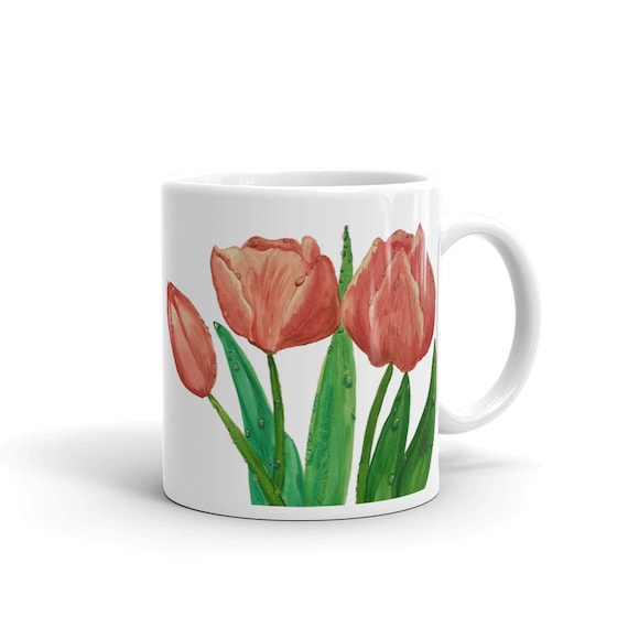 Tulips Custom Coffee 11oz Mugs, Full Color Art Designs, Personalized, Dishwasher/Microwave Safe