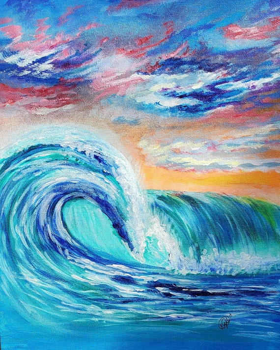 Ocean Curls, Original Artwork, 11x14, Acrylic on Canvas Panel
