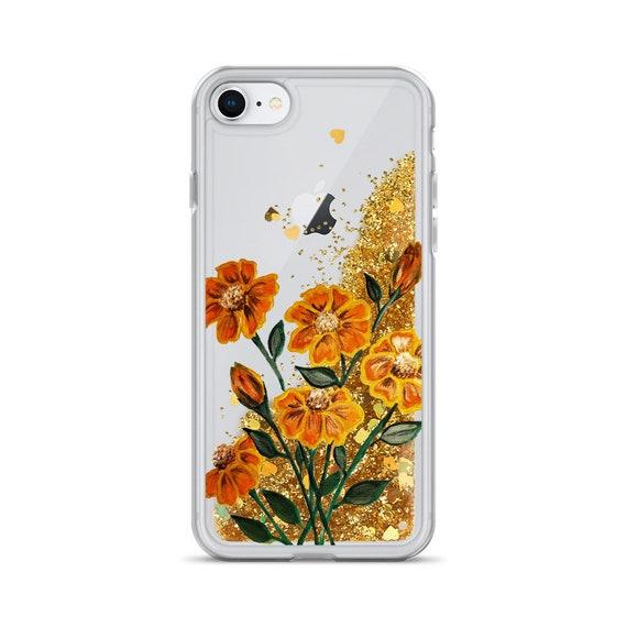 Golden Delight Floral Liquid Glitter Phone Case