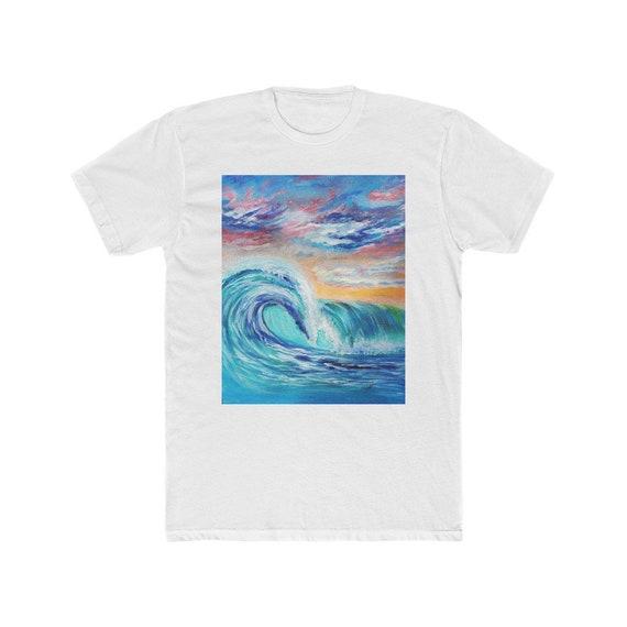 Ocean Waves Men's Cotton Crew Tee