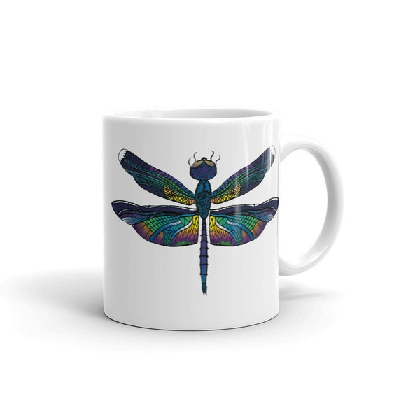 Dragonfly Coffee Mug, Ceramic Mug, 11oz, Art by Kikajo