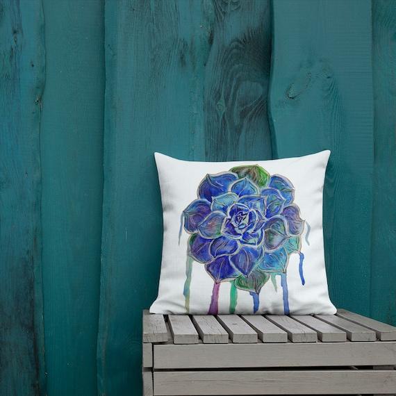 Blue Succulent Pillow, Throw Pillow, Cactus, Pillow Cushion, Art by Kikajo