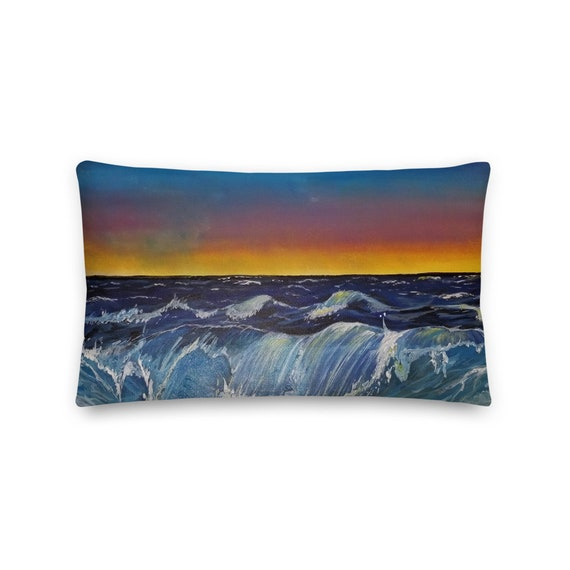 Ocean Pillow, Throw Pillow, Sunkissed Ocean, Waves, Beach House, Home Decor, Art by Kikajo