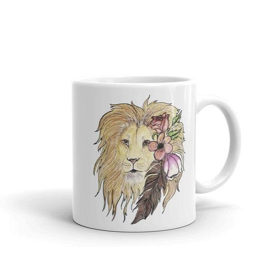 Lion Coffee Mug, Ceramic Mug, 11oz, Art by Kikajo