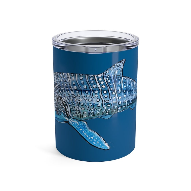 Whale Shark Travel Tumblers with Lids 10oz Full Color Art image 0