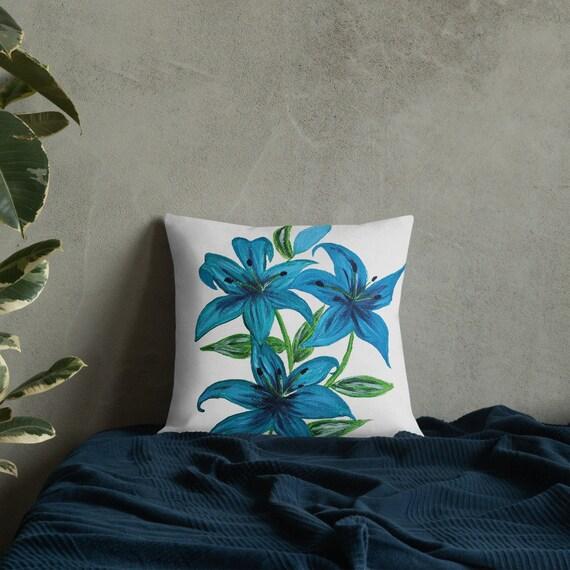 Blue Lilies Premium Pillow