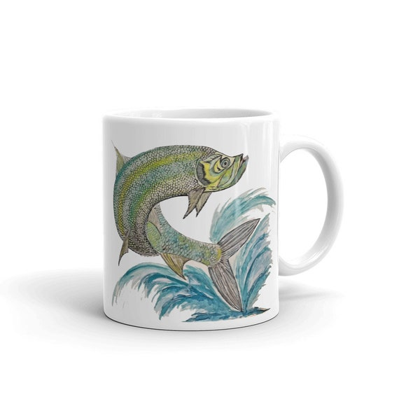 Tarpon Coffee Mug, Ceramic Mug, 11oz, Art by Kikajo