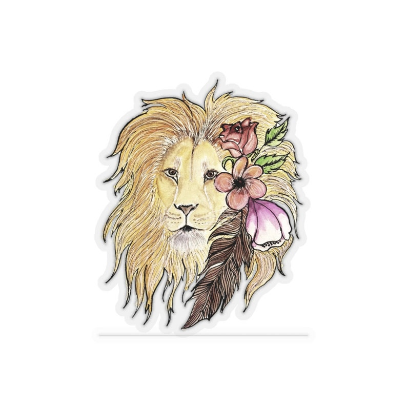 Lion Head with Flowers Kiss-Cut Stickers