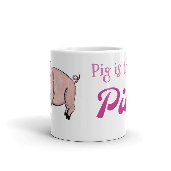 "Piglet Coffee Mug, Ceramic Mug, Pink, 11oz, ""Pig is the new Pink"",Art by Kikajo"