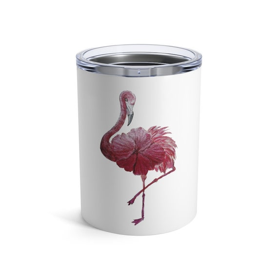 Flowered Flamingo, Tumbler, 10oz or 20oz