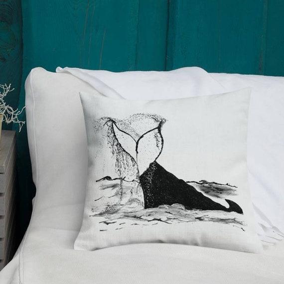 "Whale Tail Pillow, Throw Pillow, Fluke, ""Splash"", Pillow Cushion, Beach House, Home Decor, Art by Kikajo"