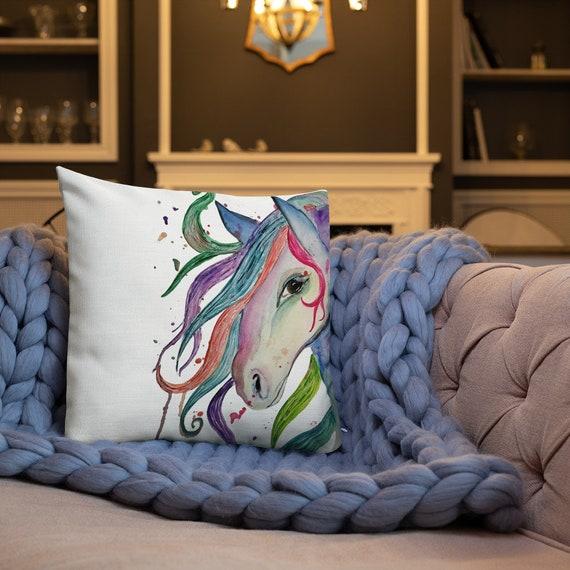 Horse Pillow, Throw Pillow, 'Ablaze' Premium Pillow Cushion, Art by Kikajo