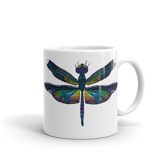 Dragonfly Coffee Mug, 11 oz, Ceramic, Coffee Mug, Art by Kikajo