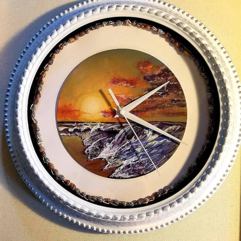 Ocean Landscape acrylic handpainted Clock image 0