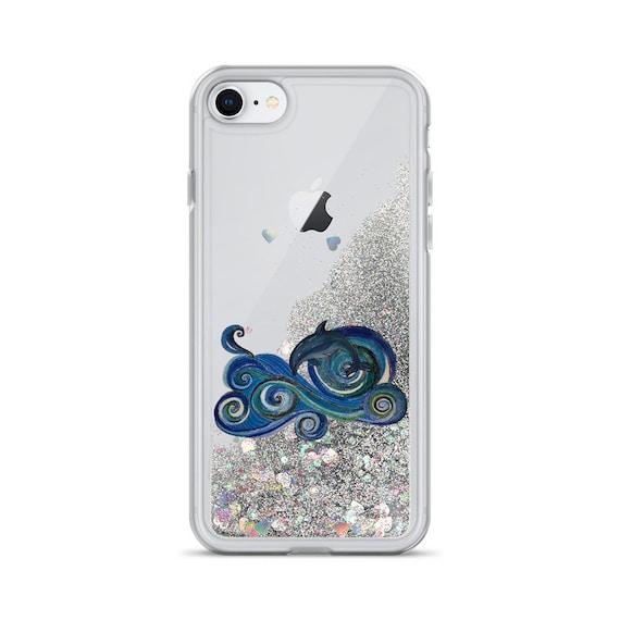 Dolphin Waves Liquid Glitter Phone Case