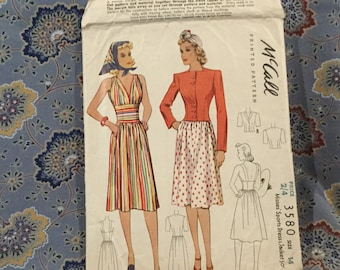 McCalls dress and jacket pattern, vintage 40s size 14.