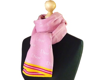 Vintage DIOR Pink Scarf, Dior Accessories, Pink Wool Scarf, Luxury Designer Scarf, Gift for Her, Mother Day
