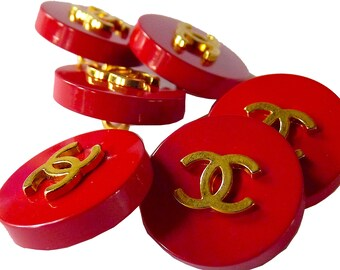"""CHANEL Buttons, Stamped Vintage, Authentic Rare, Red Gold CC, Size 0.7"""" 1.8 cm, Chanel Jacket, Price for 1 Button"""