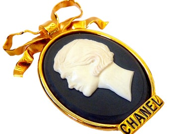 CHANEL Brooch, Auth Chanel Rare Statement Brooch Vintage 90s, Cameo Brooch Coco Chanel Paris, Mother Day, Gift for Her, Girlfriend's Gift
