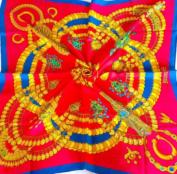 Carré Hermès Soie Kosmima Motif Bijoux par J. Abadie Rouge   Etsy 78319b88e36