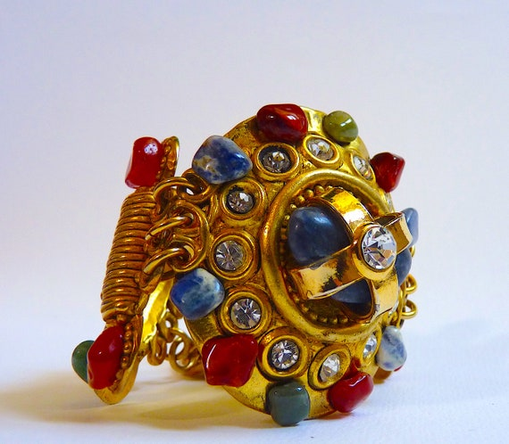 Vintage CLAIRE DEVE Cuff Bracelet with Polished N… - image 6