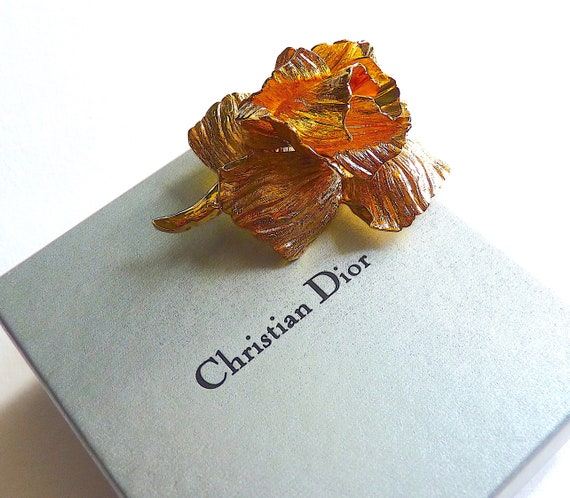Rare CHRISTIAN DIOR Rose Brooch Gold Plated Metal