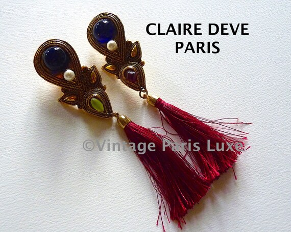 CLAIRE DEVE Dangle Earrings Vintage from the 80s,… - image 2