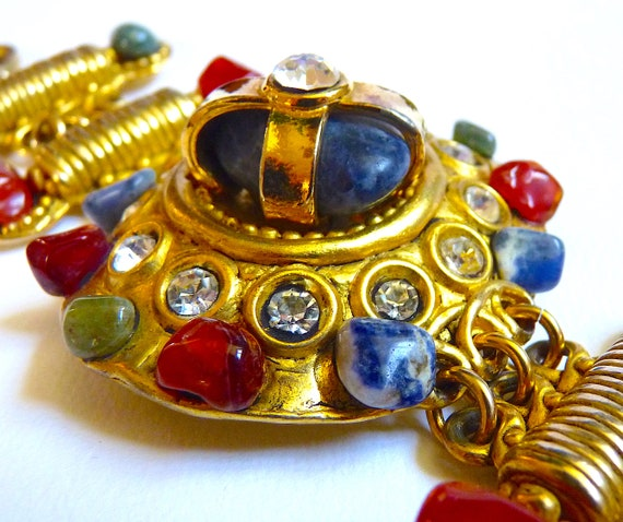 Vintage CLAIRE DEVE Cuff Bracelet with Polished N… - image 3