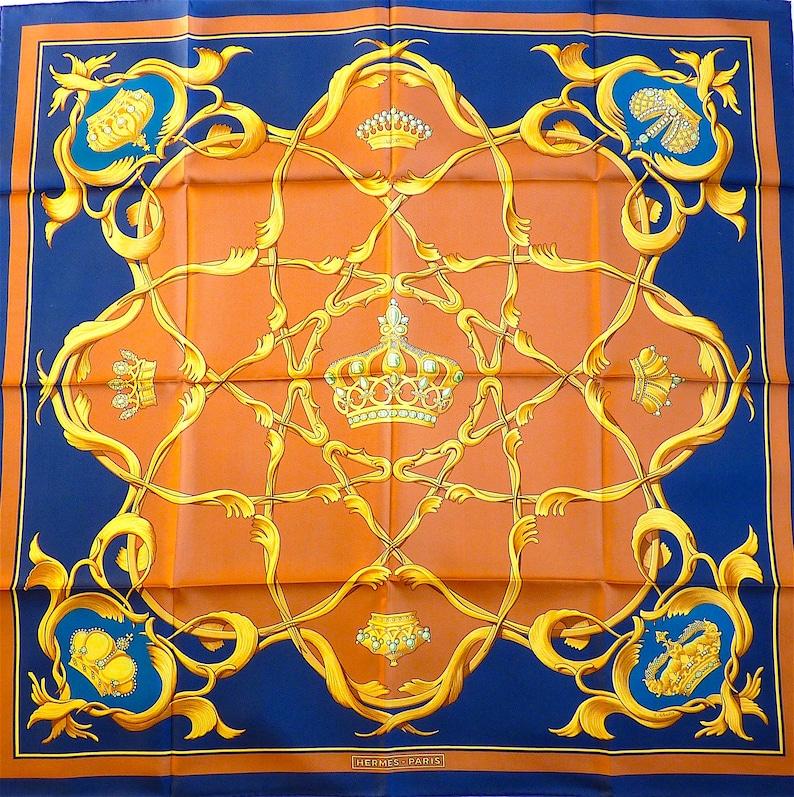 cb09439edc93 HERMES Silk Scarf NOS Hermes Crowns Vintage Hermes Scarf