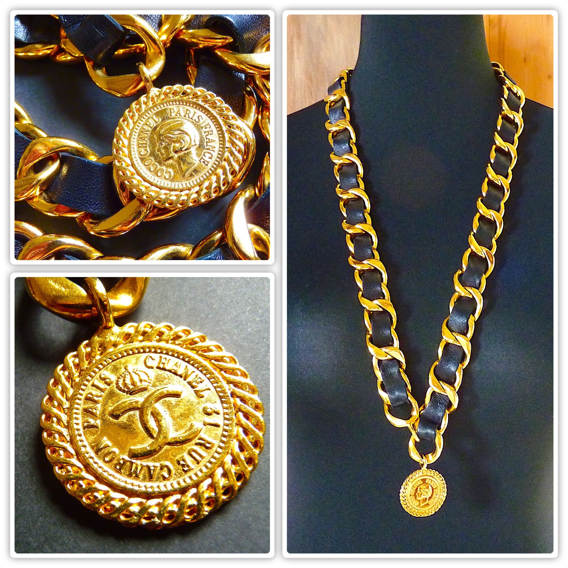 8e3fe710d4dbed Authentic CHANEL Necklace CHANEL Chain Belt Gold Black   Etsy
