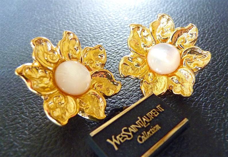 971fc507086 SAINT LAURENT Earrings Vintage YSL Clip on Flower Daisy   Etsy