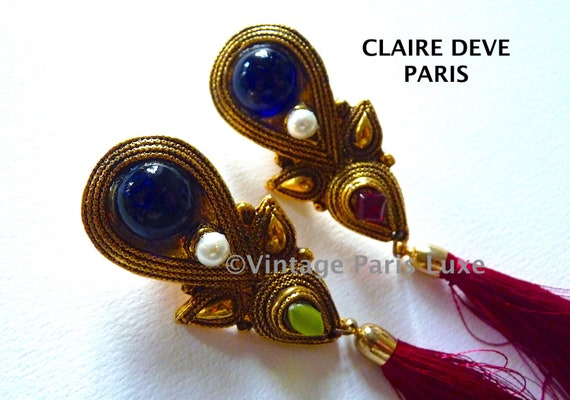 CLAIRE DEVE Dangle Earrings Vintage from the 80s,… - image 1