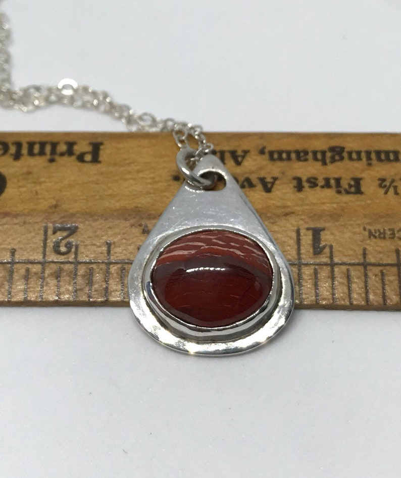 Red Stone Jewelry Red Necklace Jasper Necklace Simple Necklace Small Necklace Sterling Silver Necklace