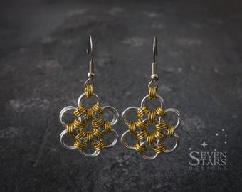 Japanese Weave Flower Earrings