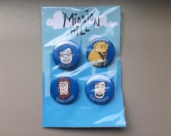 """MISSION HILL 4 piece 1 1/2"""" button set"""