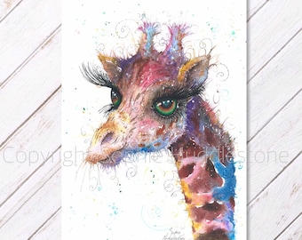 Emerald Giraffe art - Original Watercolour Painting printed on to A4 size watercolor paper. Artist Sophie Bright zoo animals artwork picture