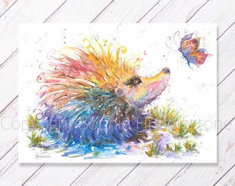 Happy Hedgehog art - Original Watercolour Painting printed on to A4 size watercolor paper by Artist Sophie garden animal picture nature cute