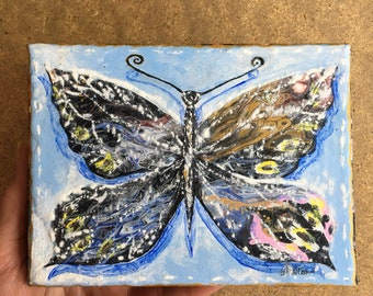 Butterfly painting canvas original hand painted by contemporary British artist Sophie Huddlestone black rainbow insect art U.K.