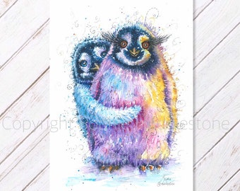 Penguins picture Watercolour Painting print from Original on watercolor paper. Contemporary zoo animal art swirly colourful by Artist SH
