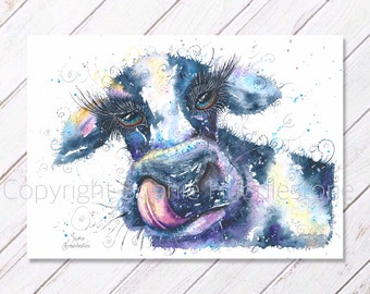 The Dirty Cow - Original Watercolour Painting printed on to watercolor paper. Farm Yard countryside style by S.H.