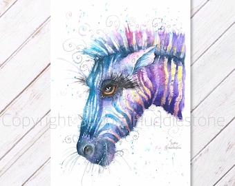 Zebra Original Watercolour Painting printed on to watercolour paper. Picture of a Zebra Artwork of wild zoo animal artist Sophie Huddleston
