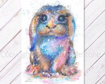 Rainbow Rabbit Lop - Original Watercolour Painting printed on to A4 size watercolor paper. Bunnies picture cute animal art by Artist Sophie