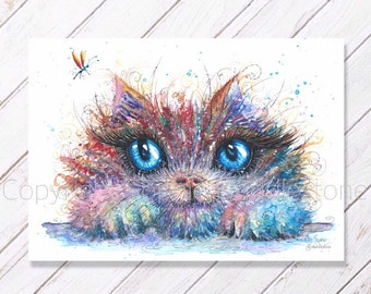 Kitty Catcher - Original Watercolour Painting printed on to A4 size watercolor paper. Cats kitten cute whimsical contemporary art