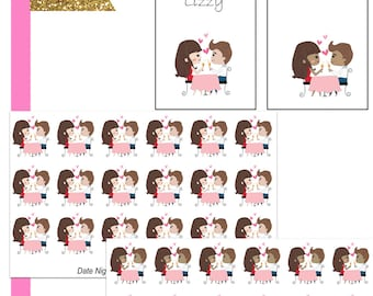 Lizzy Date Night//Planner Character Stickers//EC//HP
