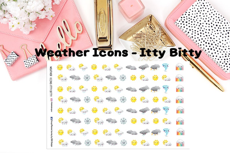 Weather Icons - Itty Bitty Variety//EC//Hp classic, large and  mini//planning stickers//