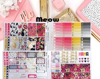 Meow Foiled//5 Sheet Weekly Kit//Erin Condren//Happy Planner//Foiled Sticker Kits
